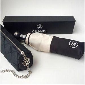 Authentic Chanel Black & Beige Umbrella